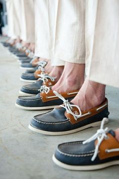 Groomsmen all wearing Sperrys. Perfect for a beach wedding! Ideas like this are why beach weddings are easy on the budget... letting you splurge for more honeymoon! More ideas at: themoontide.blogs...