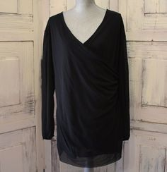 Anthropologie Black Blouse By Stacy Frati For Sweet Pea Size L? Nylon Lovely