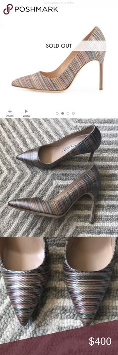 "Manolo Blahnik BB 105 Mexico Metallic Pumps 🆕 Manolo Blahnik BB 105 Mexico Metallic Pumps. Never worn. Purchased at a sample sale so there is a line down the name. 100% authentic. ⭐️Comes from a pet and smoke-free home.⭐️  Manolo Blahnik striped metallic fabric pump. 4.1"" covered stiletto heel. Pointed toe. Topstitched collar. Low-cut vamp. Slip-on style. Leather lining. Smooth outsole. ""BB"" is made in Italy. Manolo Blahnik Shoes Heels"