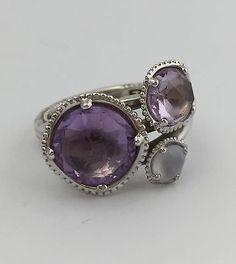 Tacori 18K925 Lilac Blossoms Rose Amethyst & White Chalcedony Ring, Size 7 - http://elegant.designerjewelrygalleria.com/tacori/tacori-18k925-lilac-blossoms-rose-amethyst-white-chalcedony-ring-size-7/