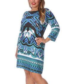 Loving this White Mark Blue Kaleidoscope Abstract Shift Dress - Plus on #zulily! #zulilyfinds