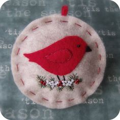 Little Red Bird on Oatmeal - Felt Christmas Ornament