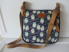 FOSSIL KEYPER CROSSBODY BAG NAVY OWLS NWT ZB5894 RETAIL $78  #Fossil #MessengerCrossBody