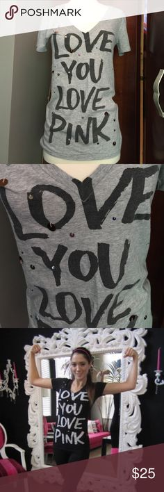 """VS PINK Gray """"LOVE YOU LOVE PINK""""  T Shirt Excellent condition Victoria's Secret PINK Gray V-neck """"LOVE YOU LOVE PINK""""  dangle embellished T -shirt.  Pic 3 shows the look of the T modeled and is not the color being sold. PINK Victoria's Secret Tops Tees - Short Sleeve"""