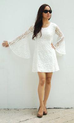 Lace dress bridesmaids S/M romantic wedding mini