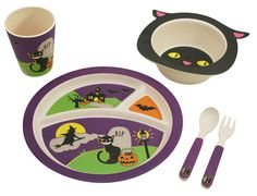 Halloween is coming! Your child can be a part of this great day as well! Bamboo Kids Mealtime 5 Piece Halloween Cat Box Set is specifically designed for children who are beginning to eat on their own.