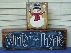 primitive+snowman+paintings | Primitive Winter Snowman Shelf Sitters Wood PAFAWW
