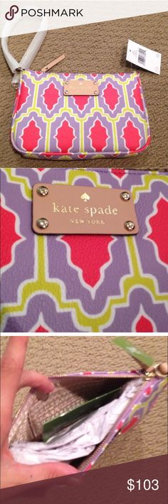 "Kate Spade Wristlet Features wristlet with zip top closure grainy vinyl with natural cowhide trim dog clip strap clips on either side of wristlet custom woven lining w 4 credit card slots 4.9""h x 7""w x 0.5""d  🚫NO TRADES. Please use the make an offer function as I do not negotiate in the comments. Thanks! kate spade Bags Clutches & Wristlets"