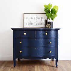 How to add a raised stencil to your painted dresser for a unique bedroom dresser! This navy blue painted dresser was upcycled from an old thrift find. Updated in chalk paint with embossed drawers. Get blue dresser idea along with more DIY dresser makeovers at A Ray of Sunlight #diydressermakeovers #paintedbedroomfurniture #bedroomdiy #upcycling #furnitureredo