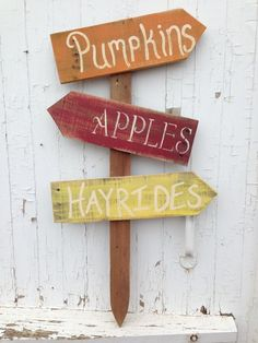 Adorable Fall Signs that stick right into the ground can also do custom wedding, graduation, and party or holiday signs to purchase this one or place a custom order head on over to Jess's Junk at http://www.facebook.com/jessicajosjunk