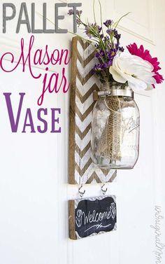 Pallet Mounted Mason Jar Vase via unOriginal Mom...this is so me! chevron, wood, mason jars, chalkboard, flowers.