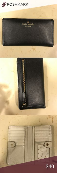 Black Kate Spade Wallet Great wallet! Well loved, but the price reflects that! Still has a lot of use left in it. kate spade Bags Wallets
