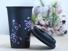 Hand Painted Black Ceramic Travel Mug - It's beautiful, but there's no way I'd spend $85 on a cup!