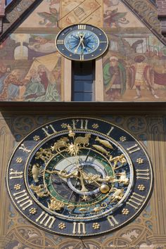 Germany, Ulm, Astronomic clock on town hall facade