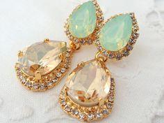 Champagne and mint seafoam Chandelier earrings by EldorTinaJewelry, $84.00