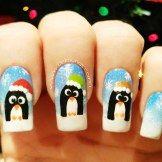 Decoración de uñas pinguinos navideños-2