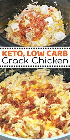 This Crack Chicken in the Crock Pot is keto friendly and low carb. The whole family will love this creamy, cheesy chicken dish. Crock Pot Recipes, Keto Crockpot Recipes, Healthy Recipes, Cooker Recipes, Low Carb Recipes, Diet Recipes, Chicken Recipes, Recipe Chicken, Chicken Salad