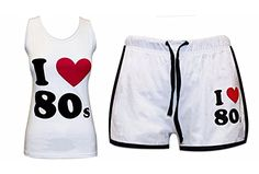 I Love the Women's Shorts and Vest Top Fitness Set Best 80s Costumes, 80s Workout, Ladies Fancy Dress, Women's Shorts, Dance Outfits, Fitness Fashion, Tights, Vest, Swimwear