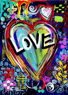 Fine Art Print from My Original Painting Love Heart Valentine Abstract Inspirational Giclee Poster and Prints