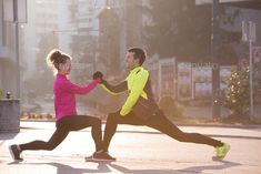 Buy couple warming up before jogging by dotshock on PhotoDune. jogging couple warming up and stretching before morning running in the city Photography Props, Creative Photography, Friends Workout, Fitness Friends, Couple Running, Run Runner, Morning Running, Male Man, African American Women