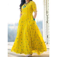 Elegant Geometric Round Neckline Maxi X-line Dress - Outfit Trends Kurta Designs, Saree Blouse Designs, Saree Dress, Dress Skirt, Dress Tops, Indian Dresses, Indian Outfits, Moda Indiana, Indian Designer Wear