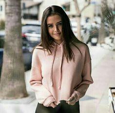 Jess Conte Conteam pink crop hoodie