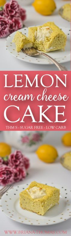 Lemon Cream Cheese Cake This is a springy version of my favorite Cream Cheese Chocolate Chip Cake! A soft and lemon cake with a cheesecake filling in every slice? Sounds like the perfect dessert to me!) PLUS it's super and hard to mess up. sugar free, l Sugar Free Treats, Sugar Free Desserts, Sugar Free Recipes, Gluten Free Desserts, Dessert Recipes, Thm Recipes, Healthy Recipes, Low Carb Sweets, Low Carb Desserts