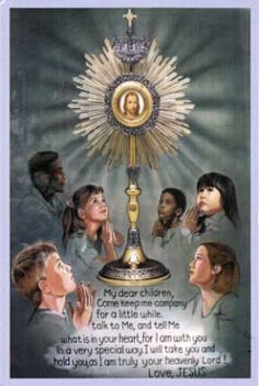 Instructing children on Eucharistic Adoration  --Children of Hope Holy Card