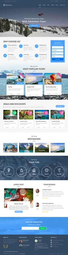 Buy Adventure Tours - WordPress Tour/Travel Theme by themedelight on ThemeForest. Adventure Tours is a Wordpress theme developed for travel agencies and tour operators of any size. It offers a lot of. Travel Agency Website, Travel Website Design, Website Design Layout, Website Design Company, Wordpress Website Design, Web Layout, Travel Design, Website Designs, Design Web
