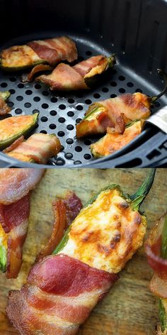 Air Fryer Recipes Low Carb, Air Fry Recipes, Air Fryer Dinner Recipes, Low Carb Recipes, Appetizer Recipes, Cooking Recipes, Healthy Recipes, Air Fryer Recipes Videos, Bacon Appetizers