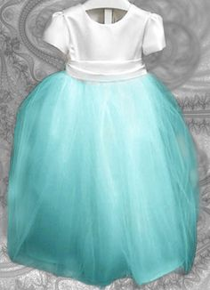 tiffany blue flower girl dresses | Aqua and white flower girl dress. Capped sleeves, layers of tulle in ...