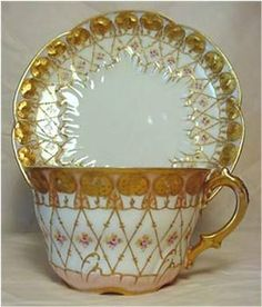 Limoges Cup and Saucer, 1890s-1920s visited the Limoges Store and plant... gorgeous dishes...