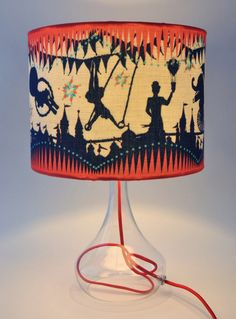 Large Circus Carousel Table Lampshade by Butterscotch& Beesting. Narrative lamp shade, using colour and imagery to tell a story.