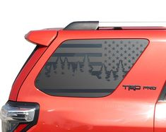 Colorado Forest Trees American Flag Decals for Toyota - Gen Side Windows - Camping Flag outdoor - Today Pin Overland 4runner, Toyota 4runner Trd, Toyota Tacoma, Toyota Trucks, Lifted Ford Trucks, Toyota 4runner Interior, 4runner Accessories, Car Accessories, Jeep Wk