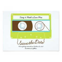 Shop Retro Indie Mixtape Wedding Blue / Lime Green Save The Date created by poptasticbride. Funny Wedding Invitations, Wedding Invitation Design, Wedding Blue, Menu Cards, Mixtape, Save The Date, Indie, Lime, Romantic