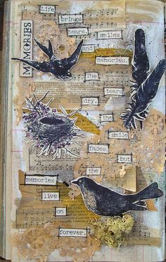Suzz's Stamping Spot, Art Journal, Memories, Birds, Verses Rubber Stamps, Stampers Anonymous