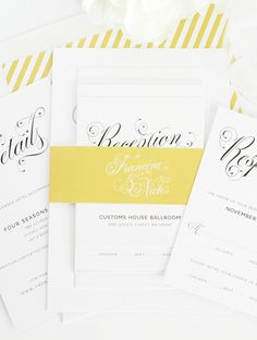 Gorgeous yellow invitation suite