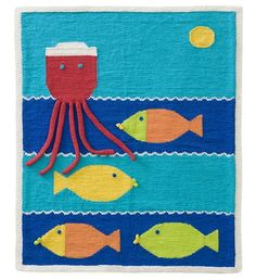 Free Knitting Pattern L40148 Fishy Wishy Afghan : Lion Brand Yarn Company