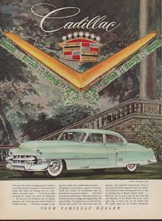 "1953 CADILLAC vintage print advertisement ""Model Year 1953"" ~ Jewels by Van Cleef & Arpels . . . The improved Hydra-Matic Drive is smoother and more responsive than ever before.  ~"