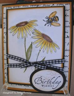 Blossoms with Bee by sunnyj - Cards and Paper Crafts at Splitcoaststampers