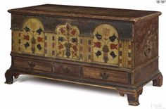Pook & Pook 10/8/16 Lot: 484.   Estimate: $90K - 120K. Realized: 108K.  Description: Important Lancaster County, Pa. painted poplar architectural dower chest, dated 1795, the front adorned with 3 arched panels with potted tulips, flanked by molded pilasters, above 3 drawers supported by ogee bracket feet, 27-3/4'' h., 47-3/4'' w. Sold at Sotheby's 1/18/02, The Palley Collection, lot 927.