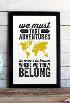 World Adventure Typographic Map