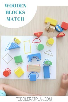 Wooden Blocks Match - Toddler at Play - Activities - - - This Wooden Blocks Match is a super quick and easy-to-prep activity you can have ready in no time! With just a short list of 3 materials and a one step prep. Toddler Learning Activities, Montessori Toddler, Montessori Activities, Toddler Play, Infant Activities, Toddler Crafts, Preschool Activities, Kids Crafts, Indoor Activities