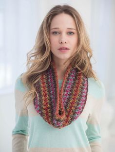 Knit this slip stitch cowl with one ball of Landscapes® -- you'll love the beautiful colorwork effect.