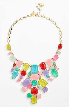 kate spade new york 'gumdrop gems' mixed stone bib necklace available at #Nordstrom Not sure whether to eat it or wear it!  Looks like tasty gummy jelly bean type candy and oh so colorful!!