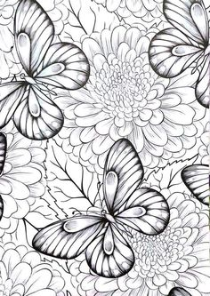 Printable Flower Coloring Pages, Love Coloring Pages, Mandala Coloring Pages, Coloring Books, Butterfly Coloring Page, Diy Y Manualidades, Colorful Drawings, Bunt, Paisley