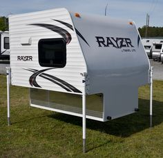 Rayzr FB truck camper for short or long bed trucks Pickup Bed Camper, Short Bed Truck Camper, Small Truck Camper, Truck Camper Shells, Small Camper Trailers, Diy Camper Trailer, Slide In Camper, Truck Bed Camping, Truck Tent