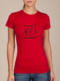 KITTY STARDUST funny david bowie cat womens screen print t-shirt tee
