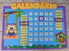 Calendário Escolar Corujinha em E.V.A | Baú dos Sonhos | Elo7