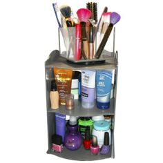 "Cosmetic or Makeup Organizer Shelf with spinning Brush Organizer. A 2 Piece Set for One Great Price. We Call it the Cutie Shelf. Only 10"" x 10"" of Counter Space Needed. Great Gift Item! Proudly Made in the USA ! by PPM. by Plastic & Products Marketing. $59.00. Bonus Spinning Clear & Grey Organizer is perfect for brushes, makeup and spins on a 6"" turntable.. Comes with non-skid tabs on bottom...Both clear & Grey are Hi-impact break resistant plastics.. Multi-Use...."